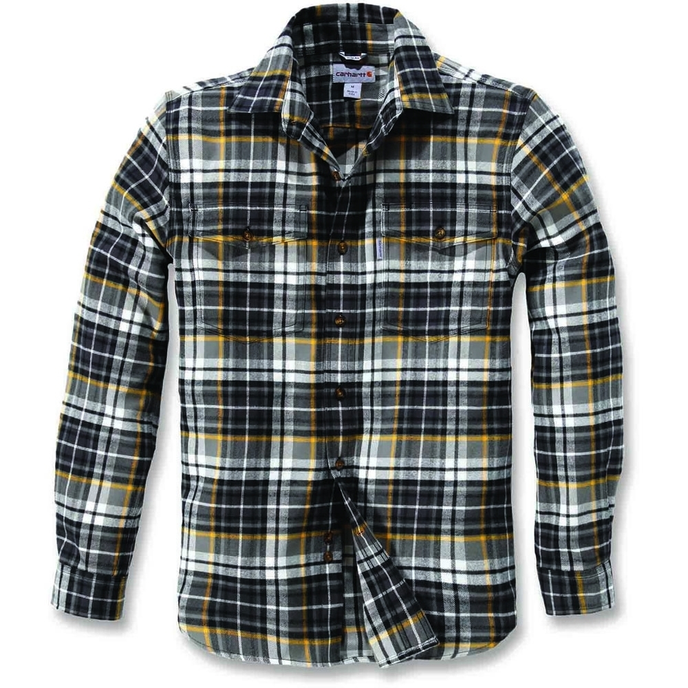 Carhartt Mens Long Sleeve Slim Fit 100% Cotton Checked