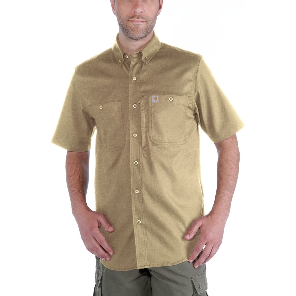 Carhartt Mens Rugged Prof Short Sleeve Button Work Shirt Xl - Chest 46-48 (117-122cm)