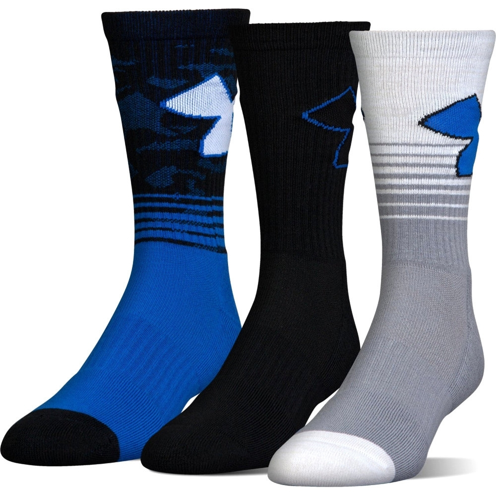 under armour mens phenom 2.0 polyester crew length socks (3 pack) m