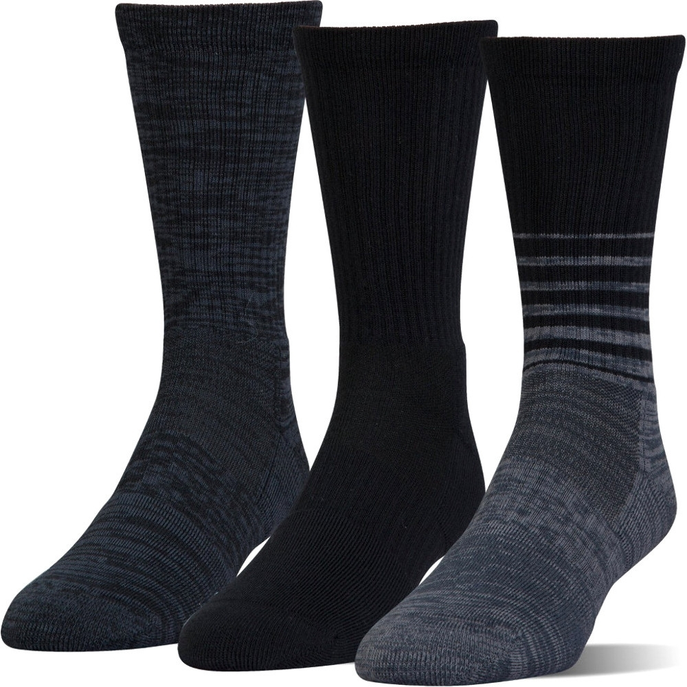 under armour mens phenom twisted breathable crew socks (3 pack) m