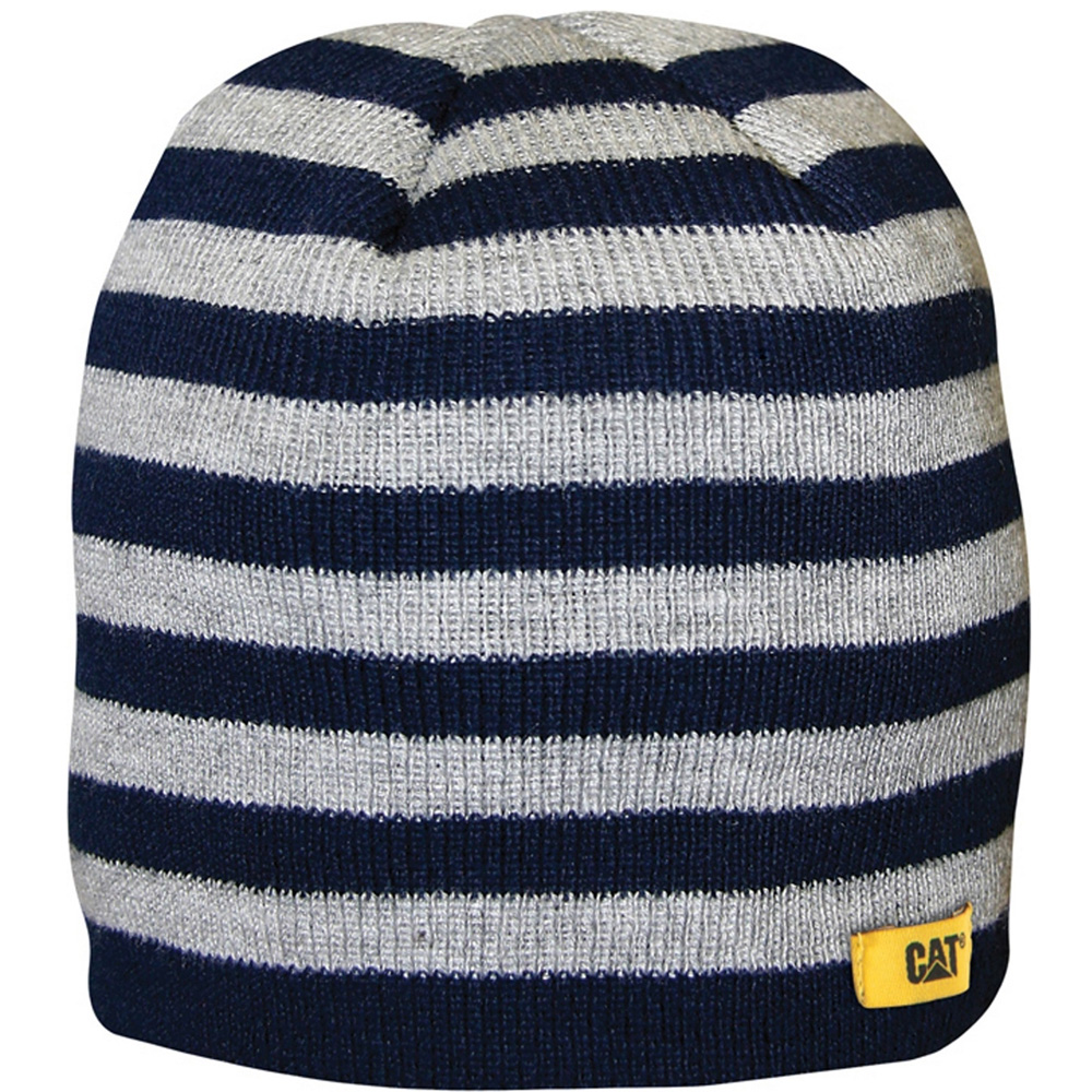 Product image of Caterpillar Boys Striped Knitted Acrylic Beanie Hat Grey