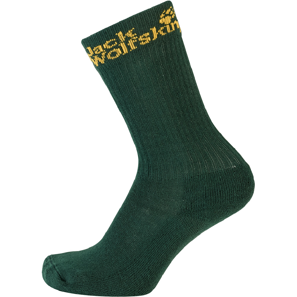 Product image of Jack Wolfskin Boys Casual Organic Classic Cotton Socks 2 Pack Green