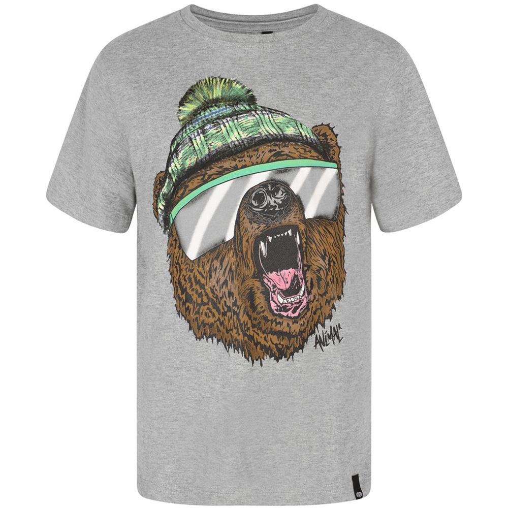 Product image of Animal Boys Yogi Printed Graphic Woven Tab Branded T Shirt Grey