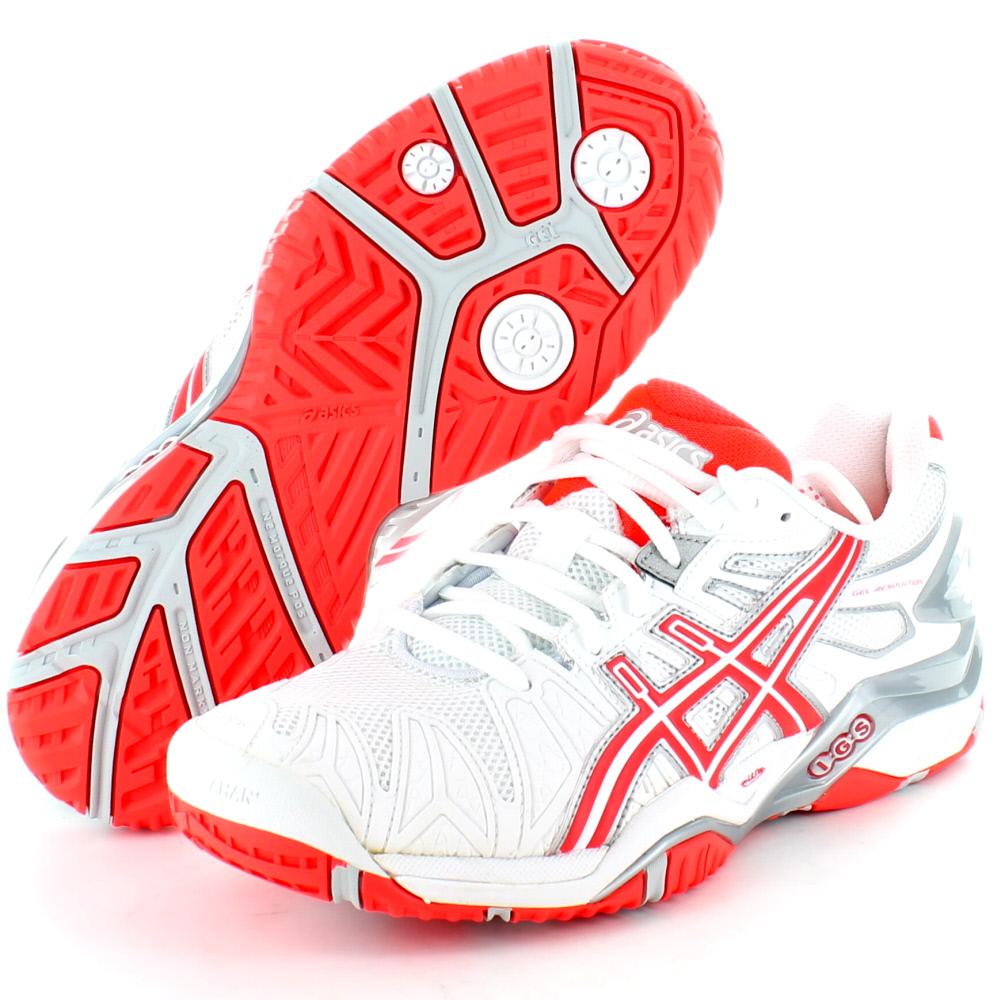 Asics E350Y Ladies Resolution 5 Tennis Shoe Trainers White