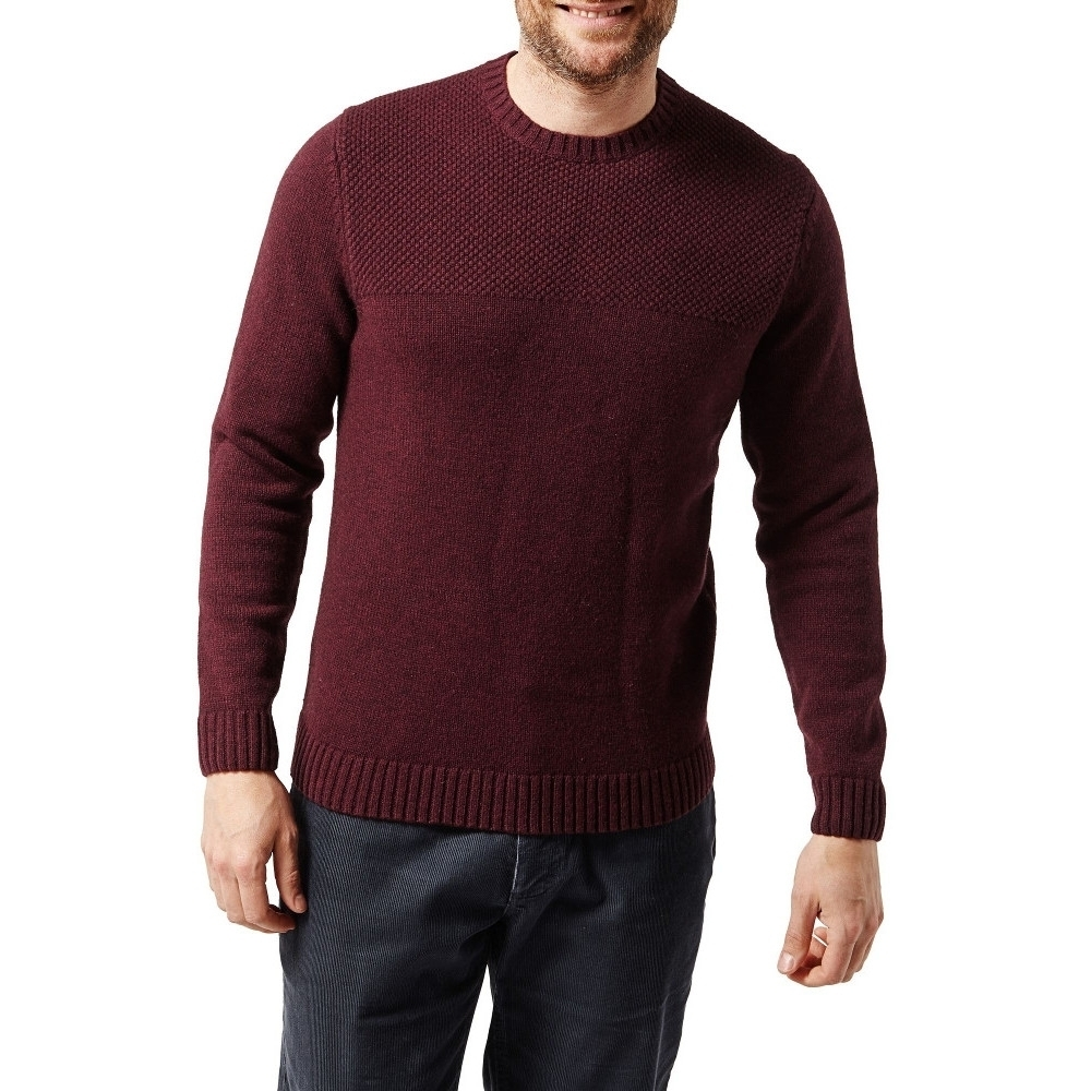 Craghoppers Mens Noa Waffle Knitted Lambs Wool Crew Neck