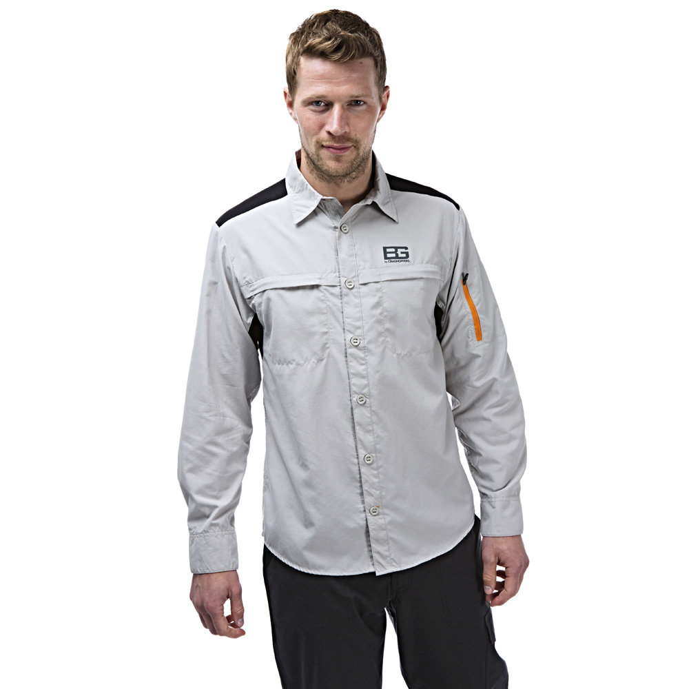 Craghoppers Mens Bear Grylls Treck Long Sleeved Shirt White