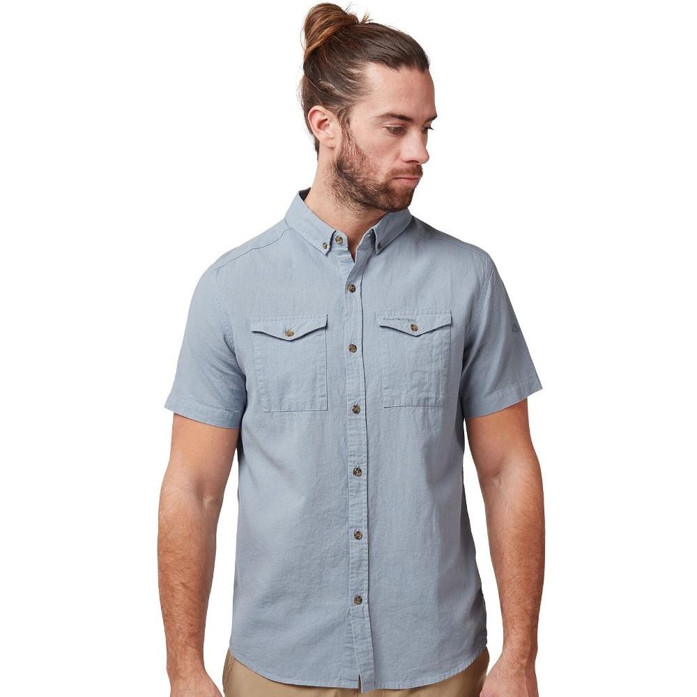 Craghoppers Mens Kiwi Linen Lightweight Short Sleeve Shirt S - Chest 38 (97cm)