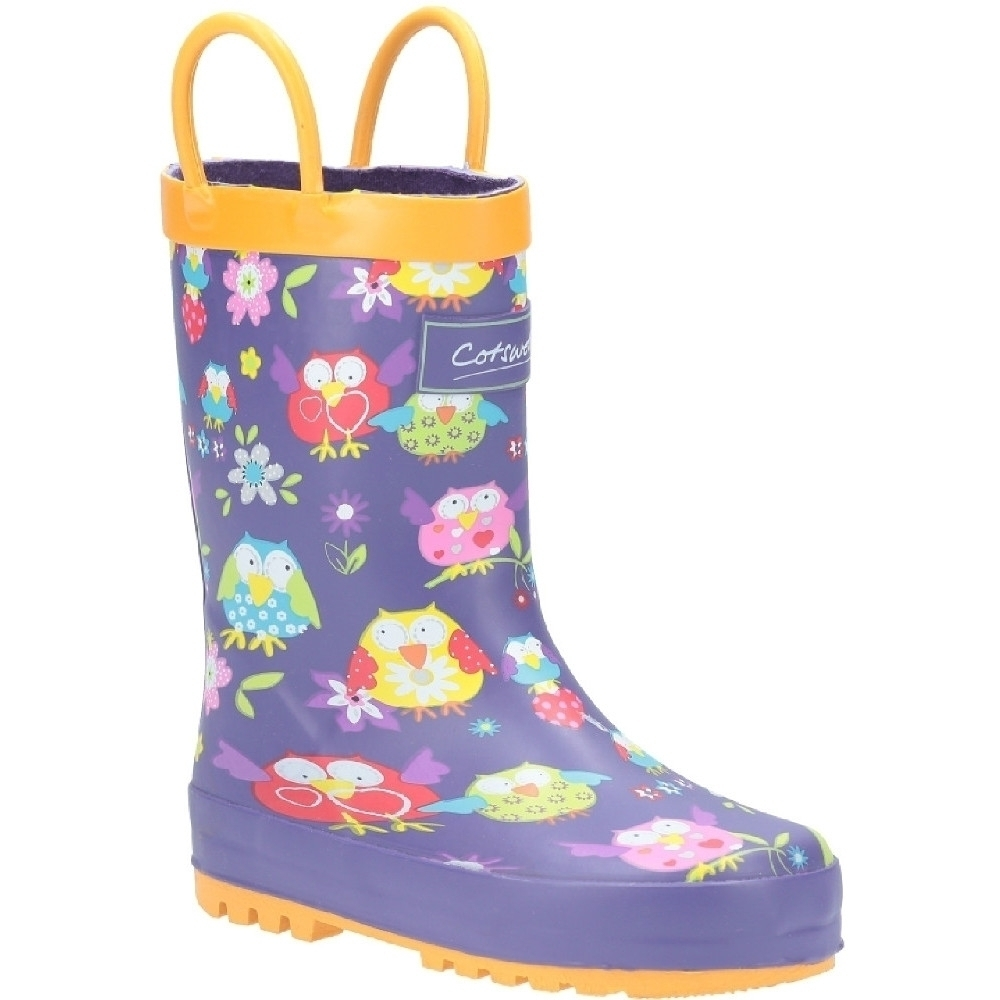 Cotswold Girls Puddle Patterned Rubber Welly Wellington Boots Uk Size 13 (eu 32)