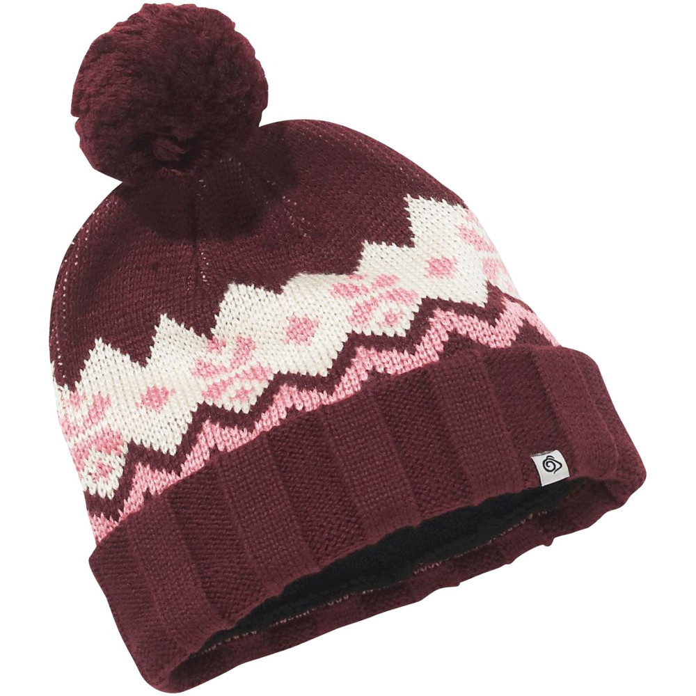Product image of Craghoppers Womens/Ladies Knit Stripe Fleece Lined Bobble Beanie Hat One Size