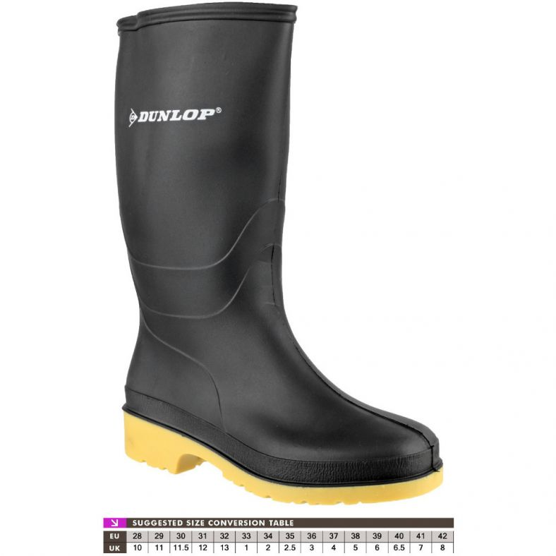 Dunlop Boys Classic Dull Waterproof PVC Welly Wellington Boots