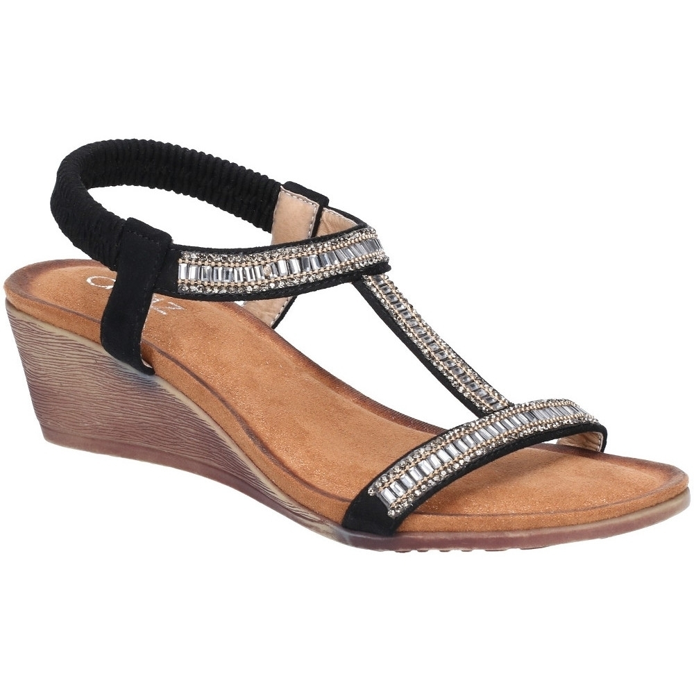 Divaz Womens Pearl Elasticated Wedged Strappy Summer Sandals Uk Size 6 (eu 39)