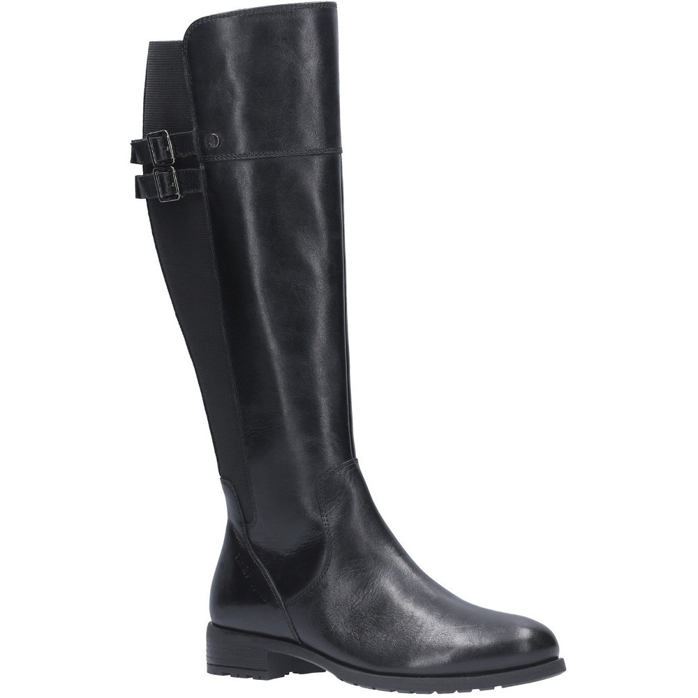 Hush Puppies Womens Arla Leather Zip Up Stretchy Long Boots Uk Size 4 (eu 37)