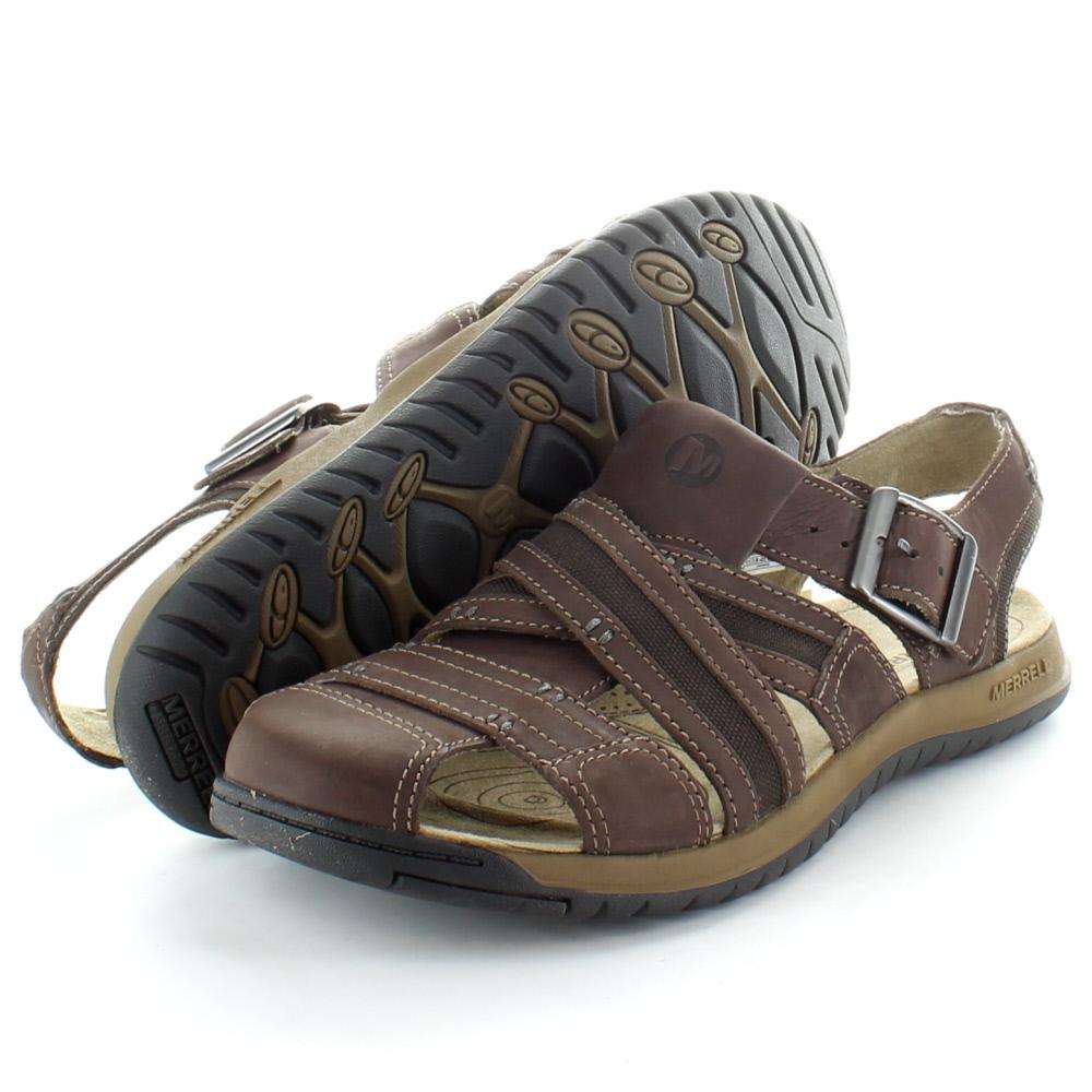 Merrell Mens Traveler Fish Leather Upper Walking Sandal J62213 Brown