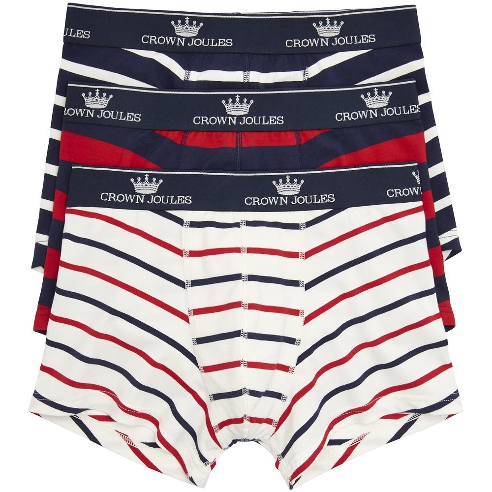 Underwear Joules Mens Crown Joules Super Soft Cotton 3 Pack Boxer Shorts L - Waist 36-38' (91.5-96.5cm)