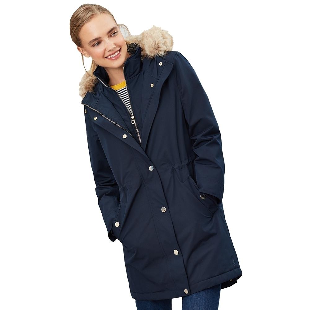 Joules Womens Kempton Hooded Drop Tail Parka Coat Jacket UK
