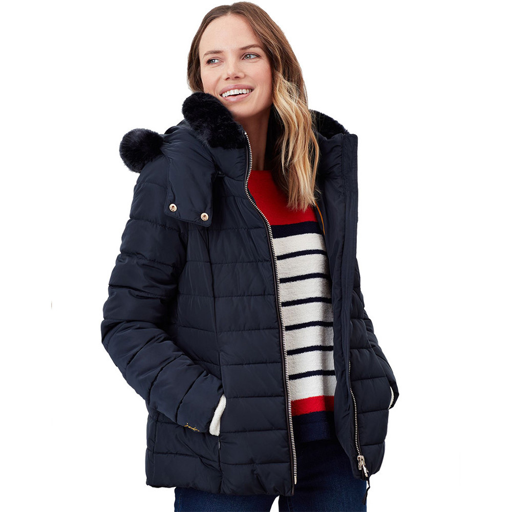 Joules Womens Cassington Padded Insulated Warm Hooded Coat Uk 12- Bust 37  (94cm)