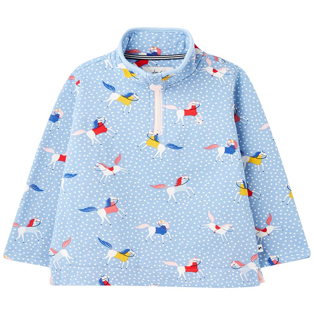 Joules Girls Fairdale Zip Neck Printed Sweatshirt 7-8 Years- Chest 26  (63-66cm)