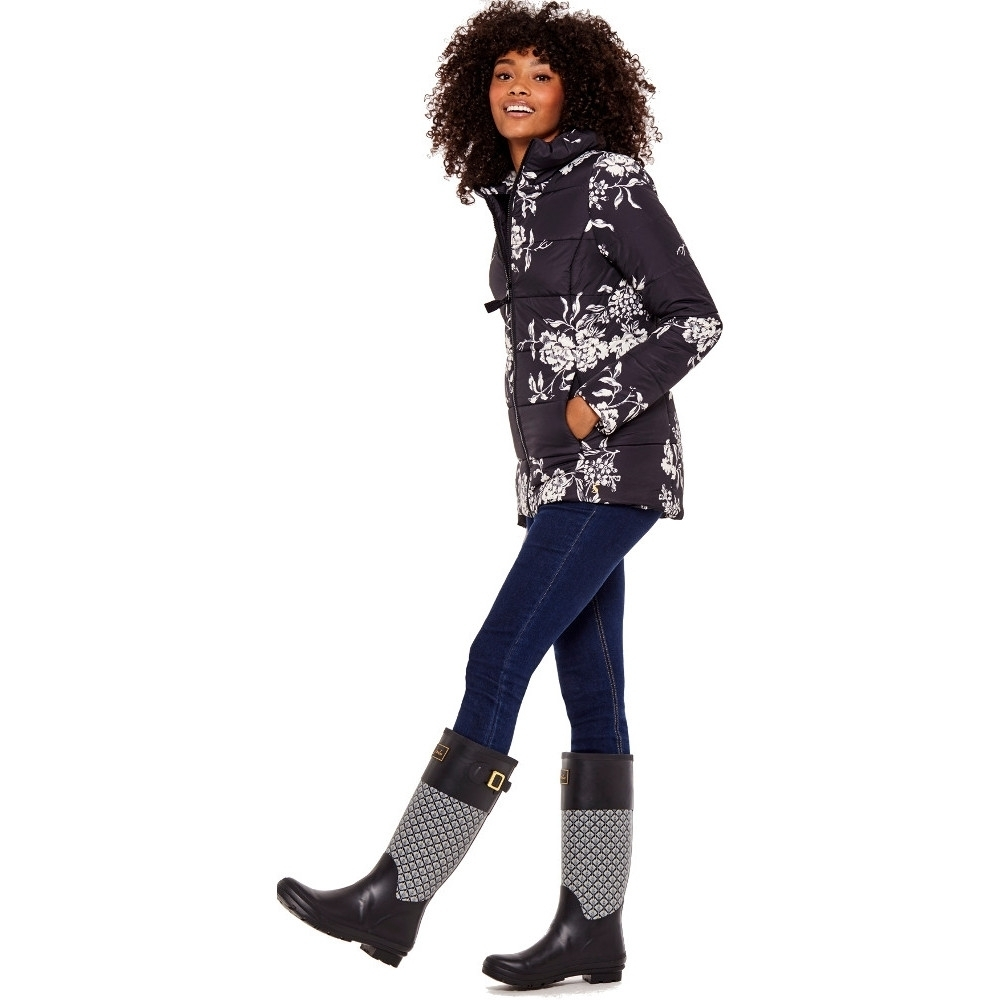 Joules Womens/Ladies Florian Printed Warm And Cozy Padded Jacket Coat 12 - Bust 36 (91cm)