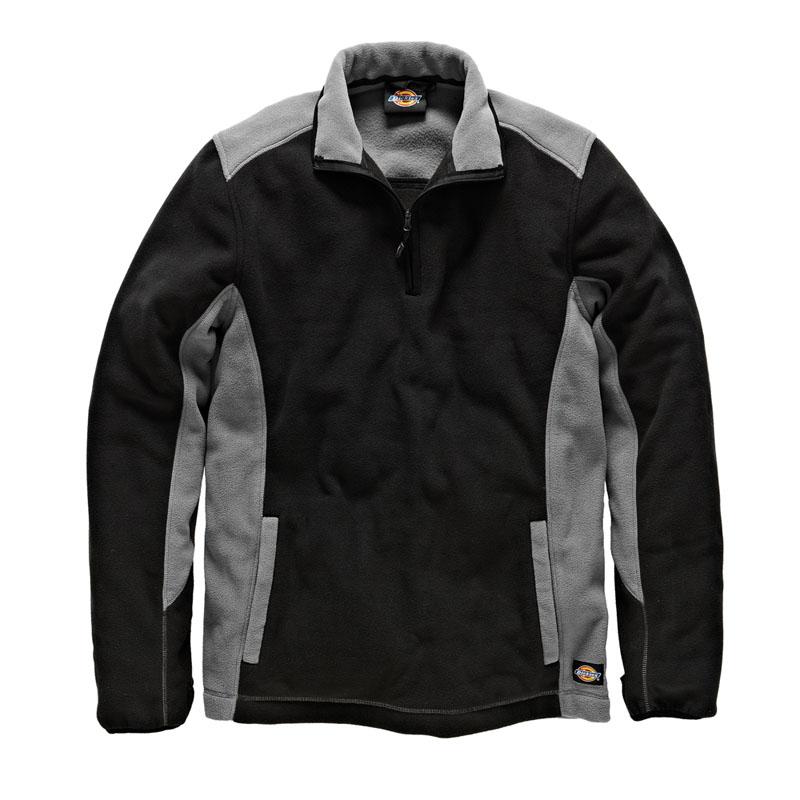 Dickies Mens Workwear Two Tone Micro Fleece Grey Black JW7011G