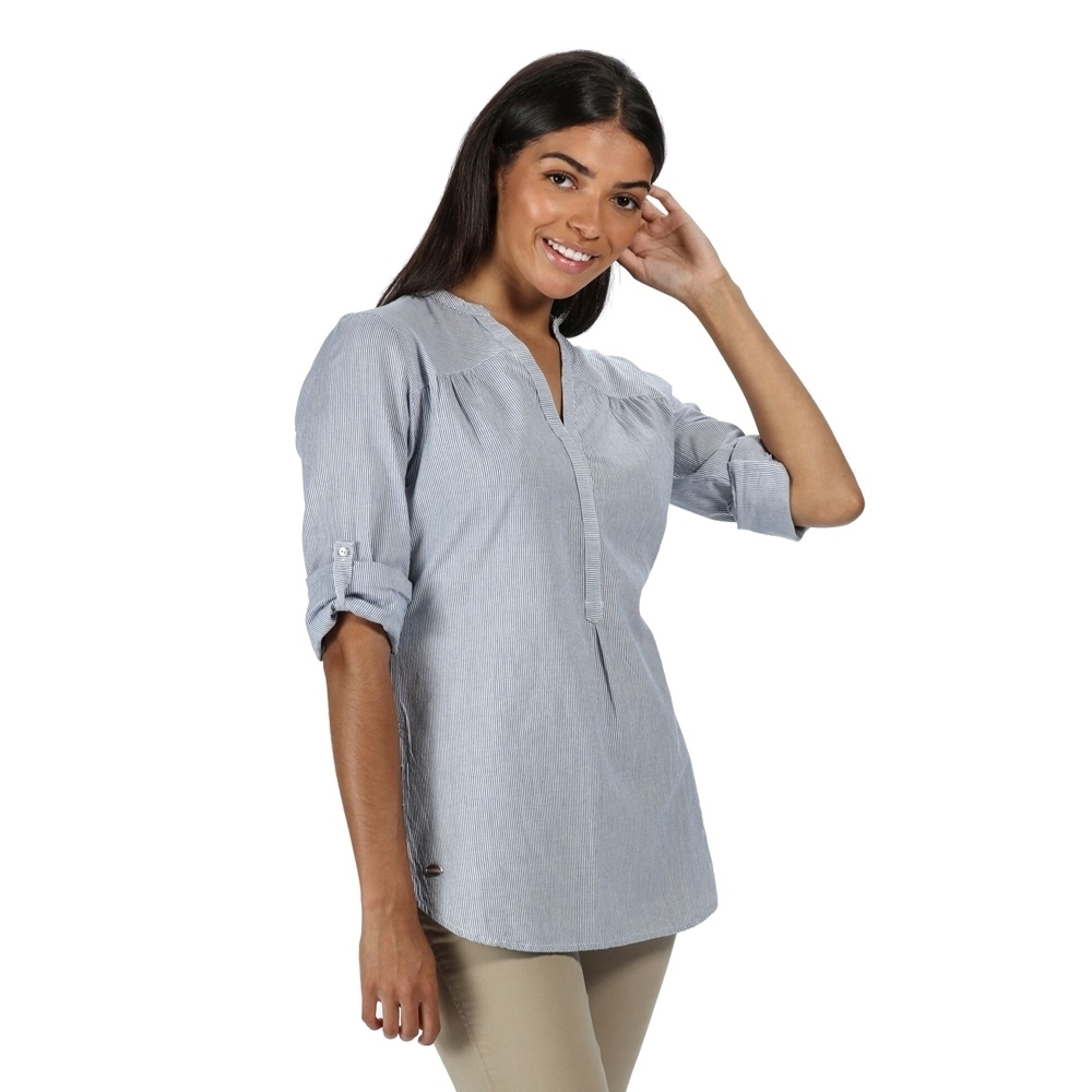 Regatta Womens Maelie Coolweave Cotton Long Sleeve Shirt 8 - Bust 32 (81cm)