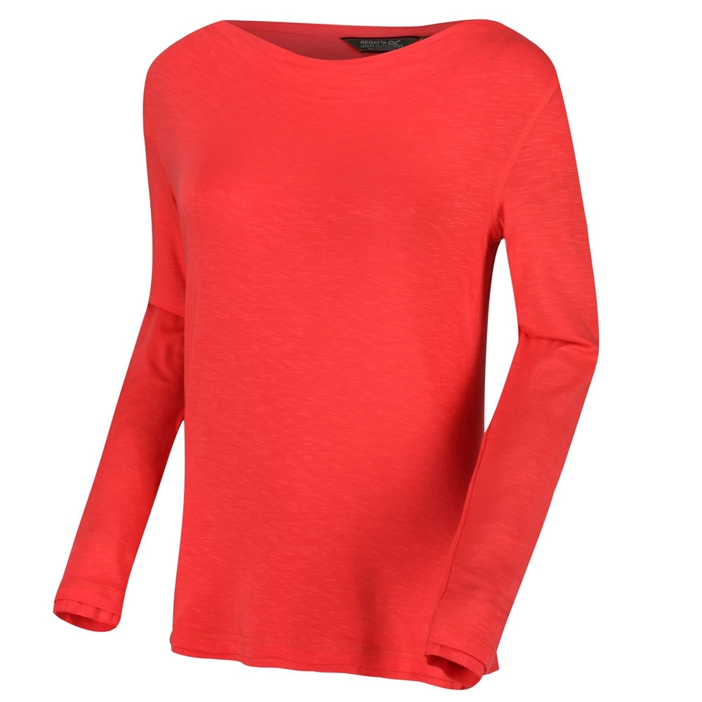 Regatta Womens Frayler Cowl Neck Long Sleeve Slub Jersey Top 16 - Bust 40 (102cm)