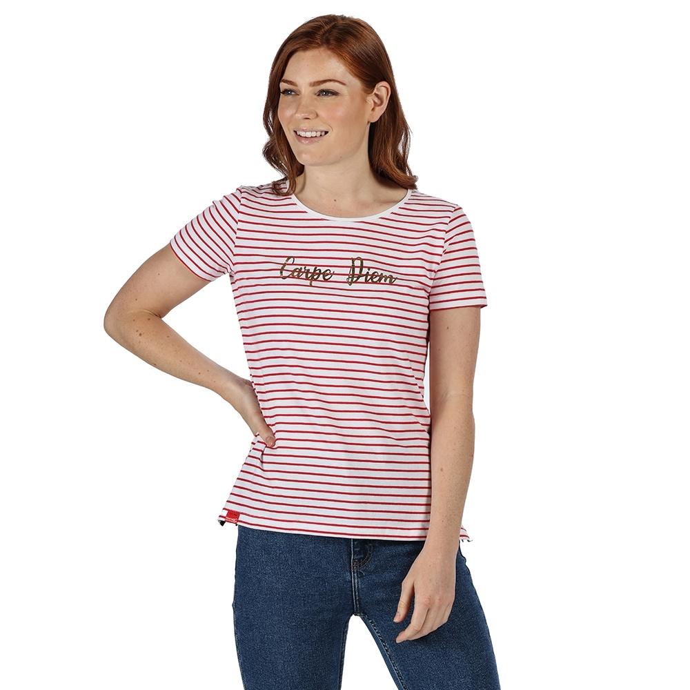 Regatta Womens Olwyn Striped Printed Casual Jersey T Shirt 16 - Bust 40 (102cm)