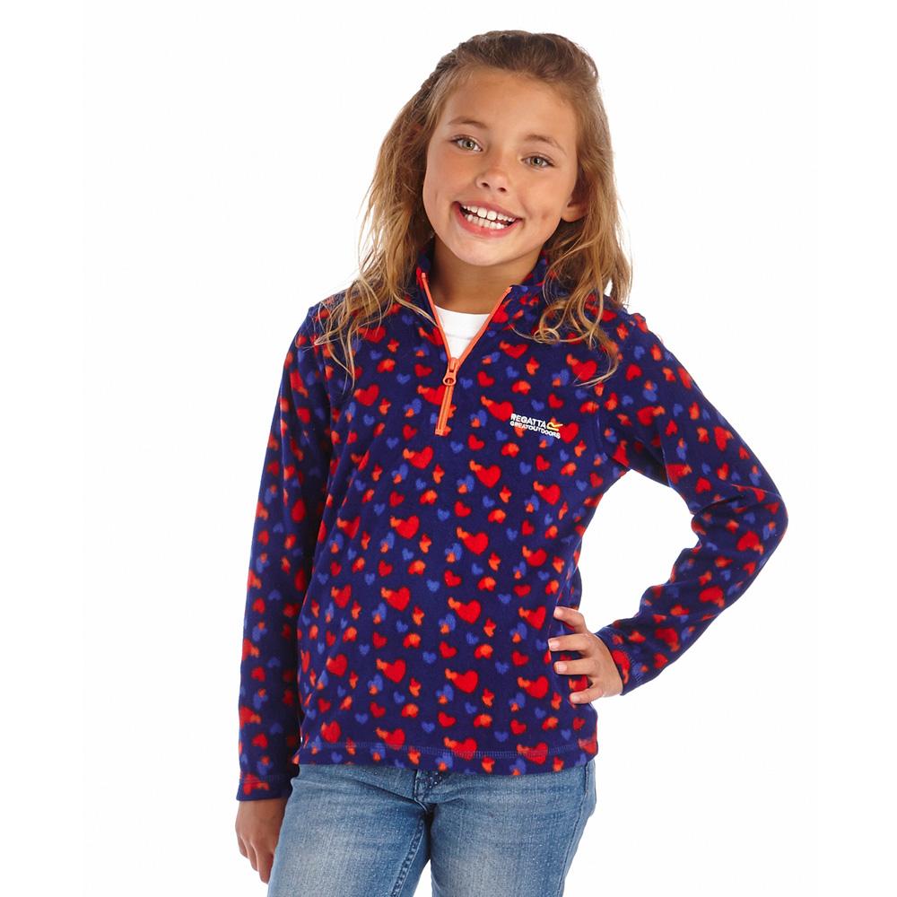 Product image of Regatta Girls Lovely Jubblie Warm Heart Patterned Fleece Top Royal