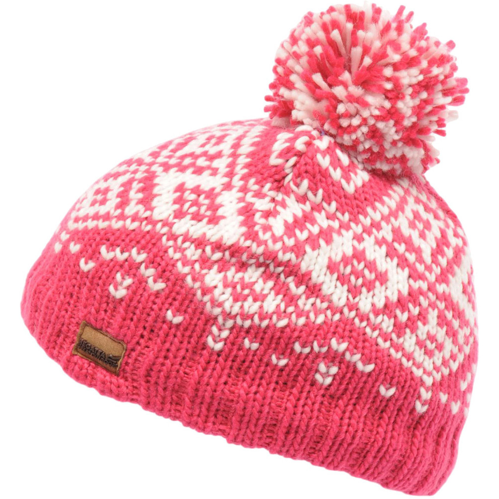 Product image of Regatta Boys & Girls Askel Fleece Lined Winter Bobble Beanie Hat 11-13 Years