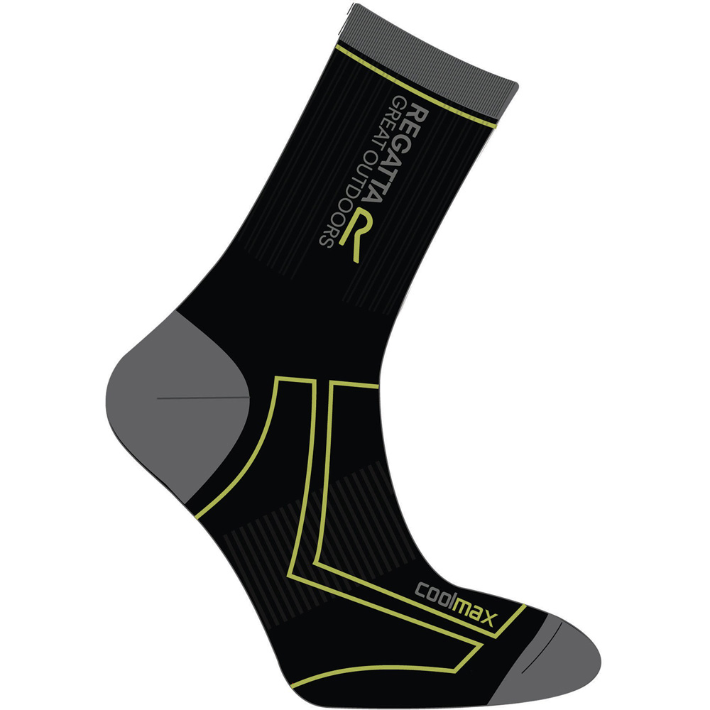 Product image of Regatta Boys 2 Season Coolmax Trek Wicking Walking Socks Black