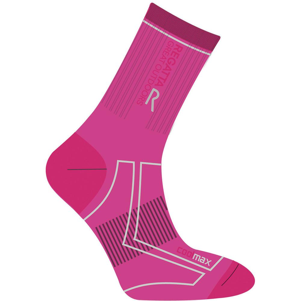 Product image of Regatta Girls 2 Season Coolmax Trek Wicking Walking Socks Pink