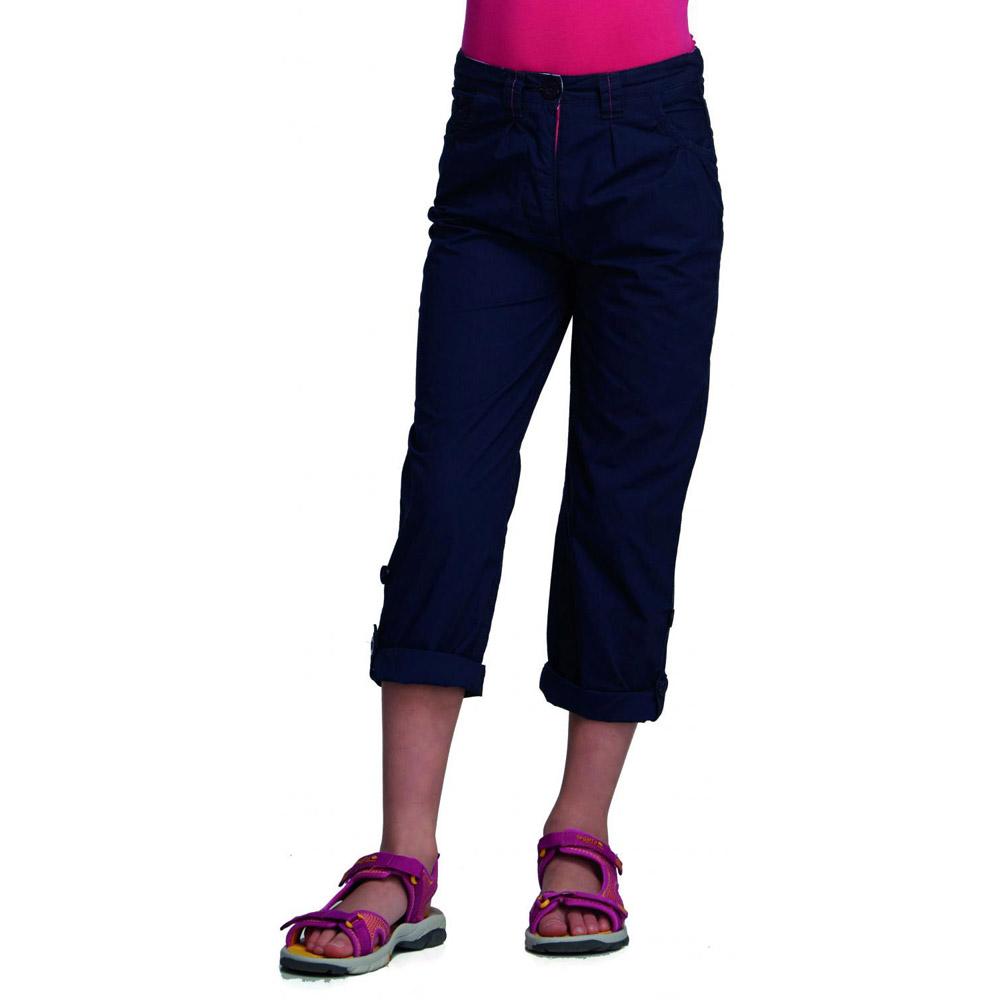 Regatta Girls Dolie Breathable Summer Capri Trousers Navy RKJ050