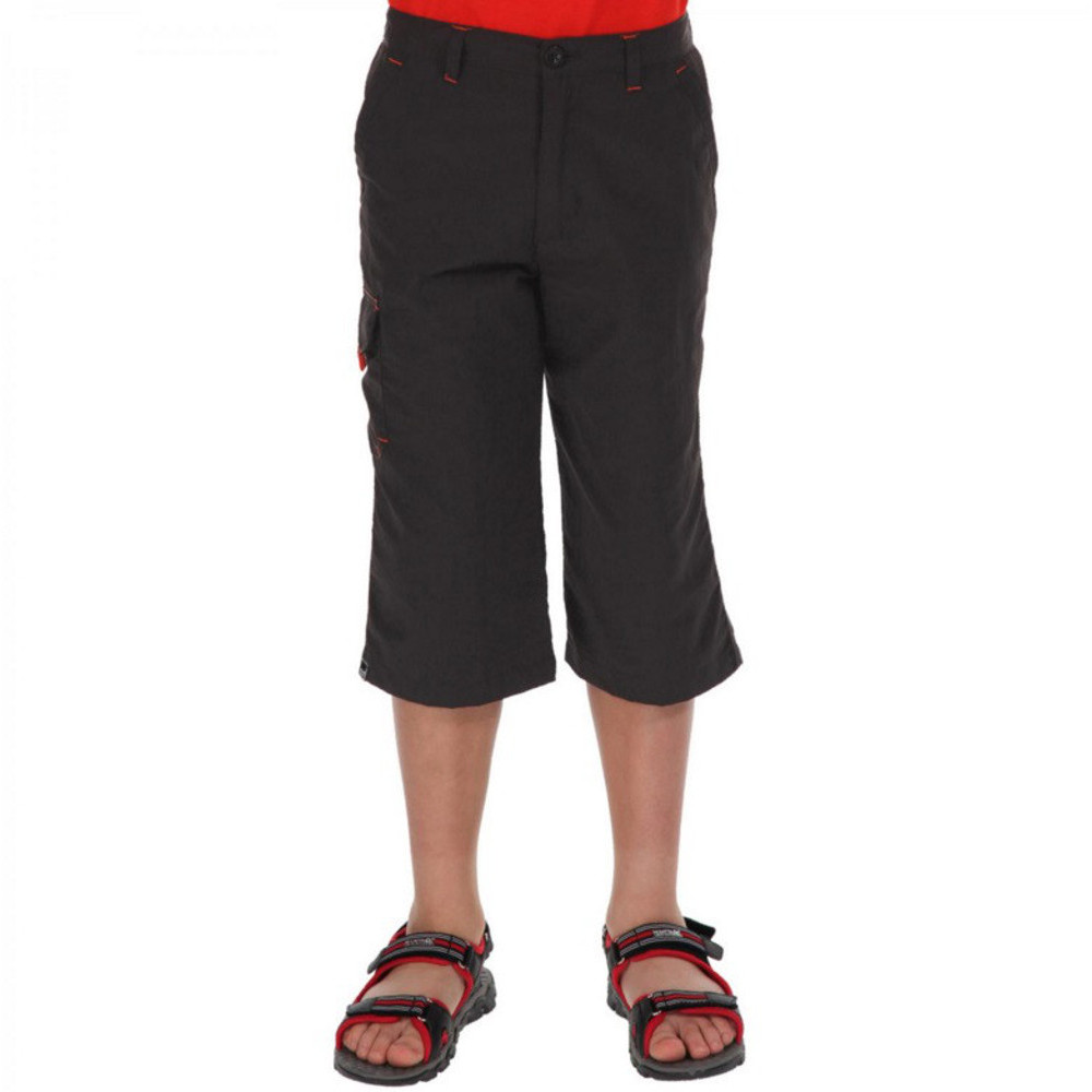 Product image of Regatta Girls Sorcer Vintage Wash Cotton Capris Trousers 11-12 Years - Waist 65-67cm (Height 146-152