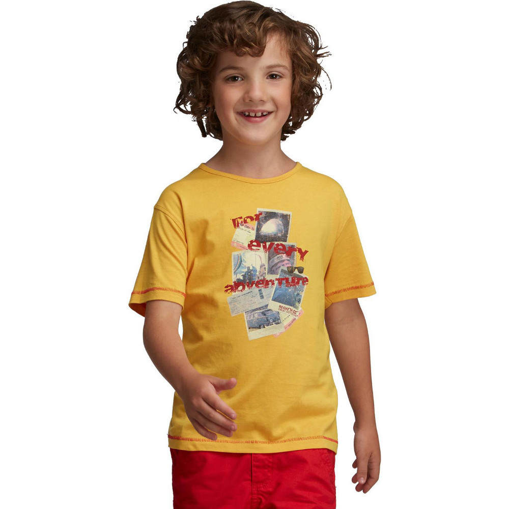 Product image of Regatta Boys Bugle Soft Cotton Graphic Printed Casual T Shirt 11 years - Chest 75-79cm