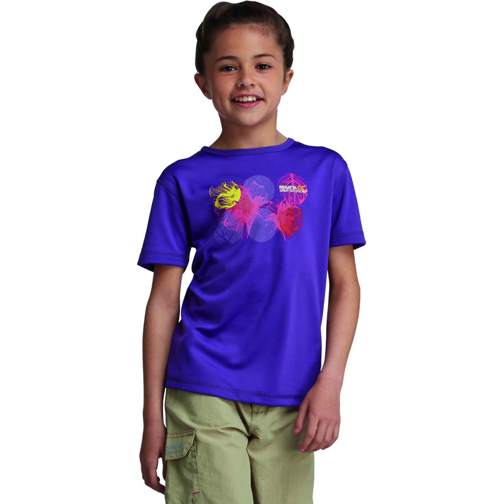 Product image of Regatta Girls Abis Graphic Print Quickdry Wicking T Shirt Purple