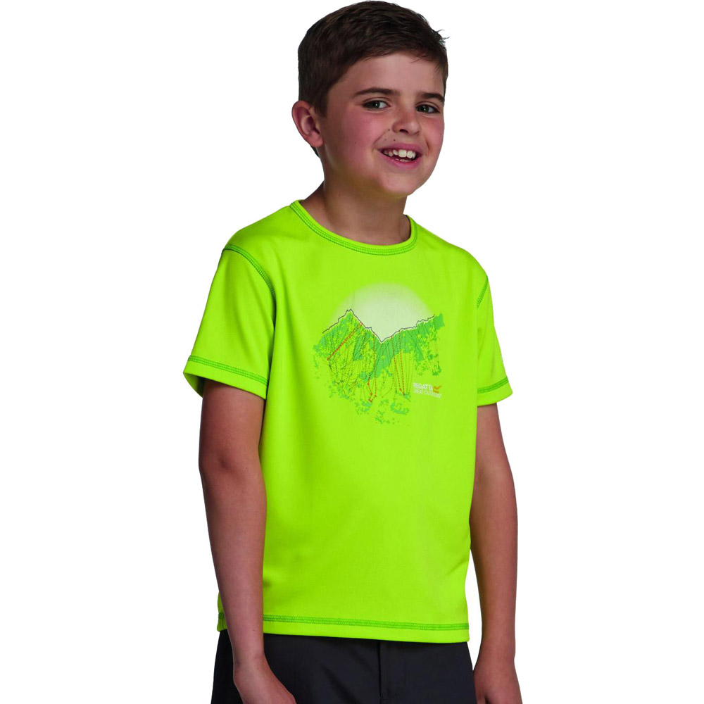 Product image of Regatta Boys Abis Graphic Print Quickdry Wicking T Shirt Green RKT053