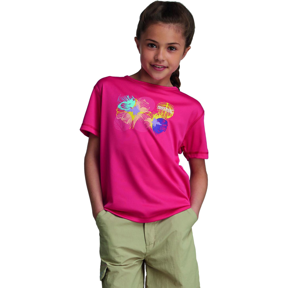 Product image of Regatta Girls Abis Graphic Print Quickdry Wicking T Shirt Pink RKT053