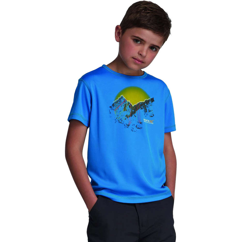 Product image of Regatta Boys Abis Graphic Print Quickdry Wicking T Shirt Blue RKT053