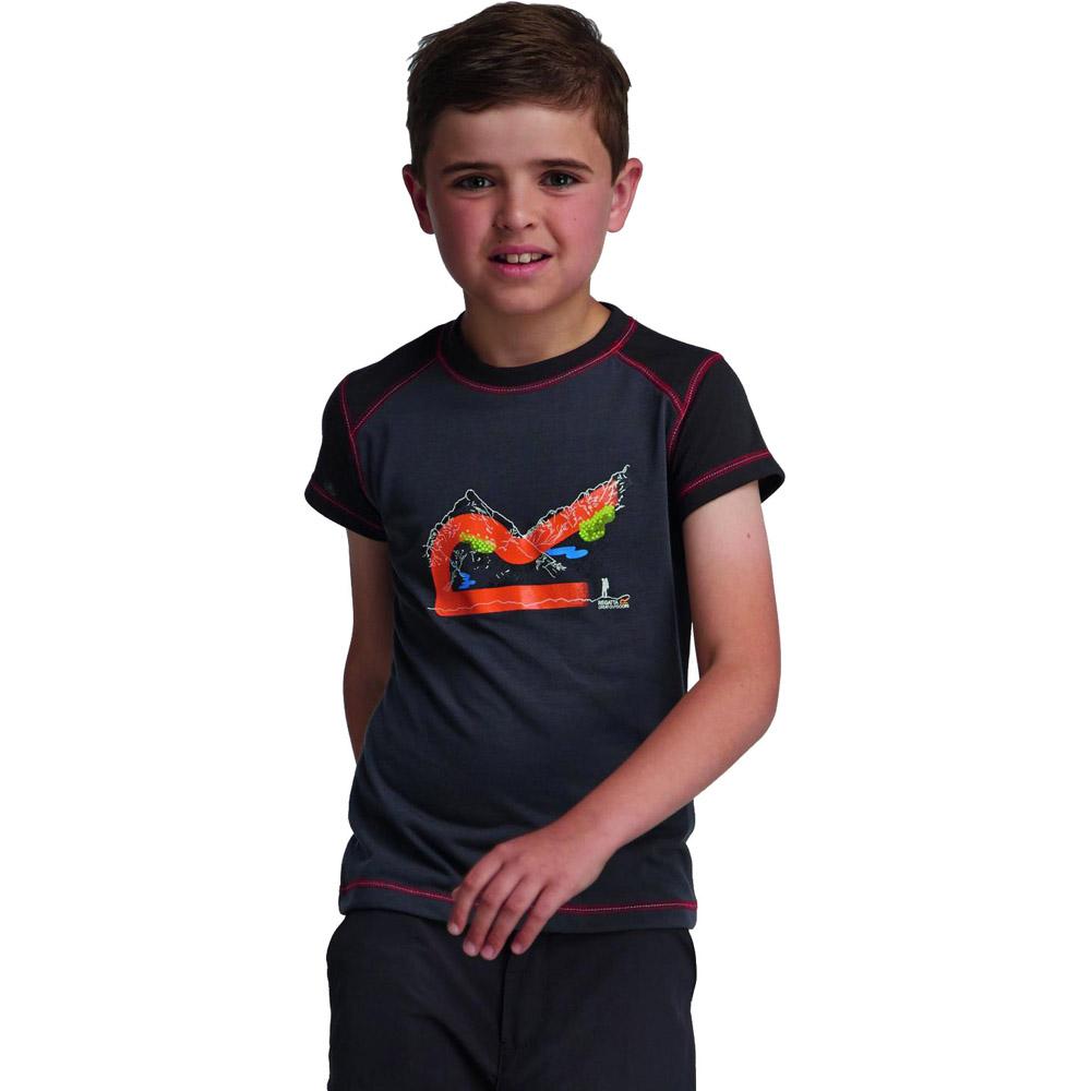Product image of Regatta Boys Thorpe Lightweight Graphic Print T Shirt Grey RKT055