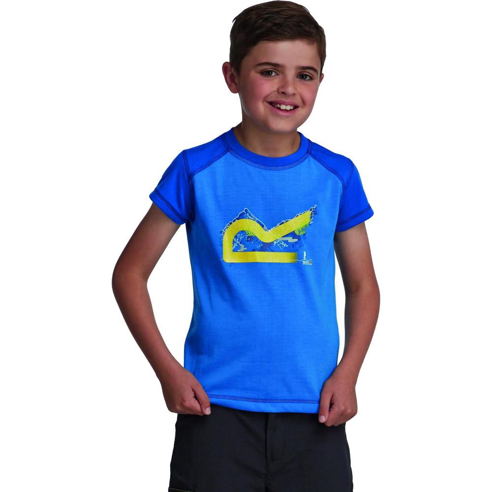Product image of Regatta Boys Thorpe Lightweight Graphic Print T Shirt Blue RKT055