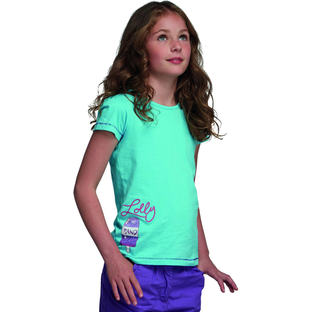 Product image of Regatta Girls Bugle Graphic Printed T Shirt Light Blue RKT057