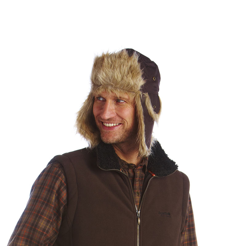 Product image of Regatta Mens Morris Cotton Wax Effect Fleece Lined Hat Peat Wax
