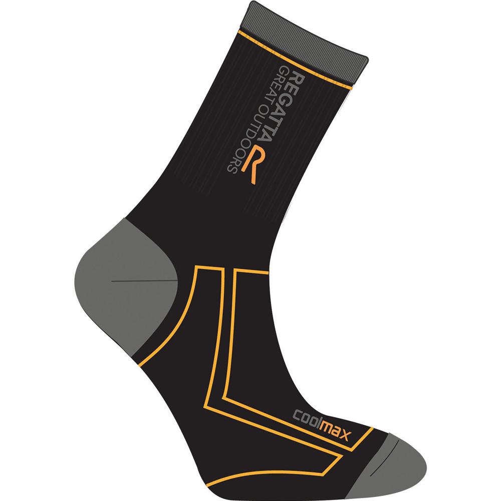 Product image of Regatta Mens 2 Season Coolmax Trek Wicking Walking Socks Black