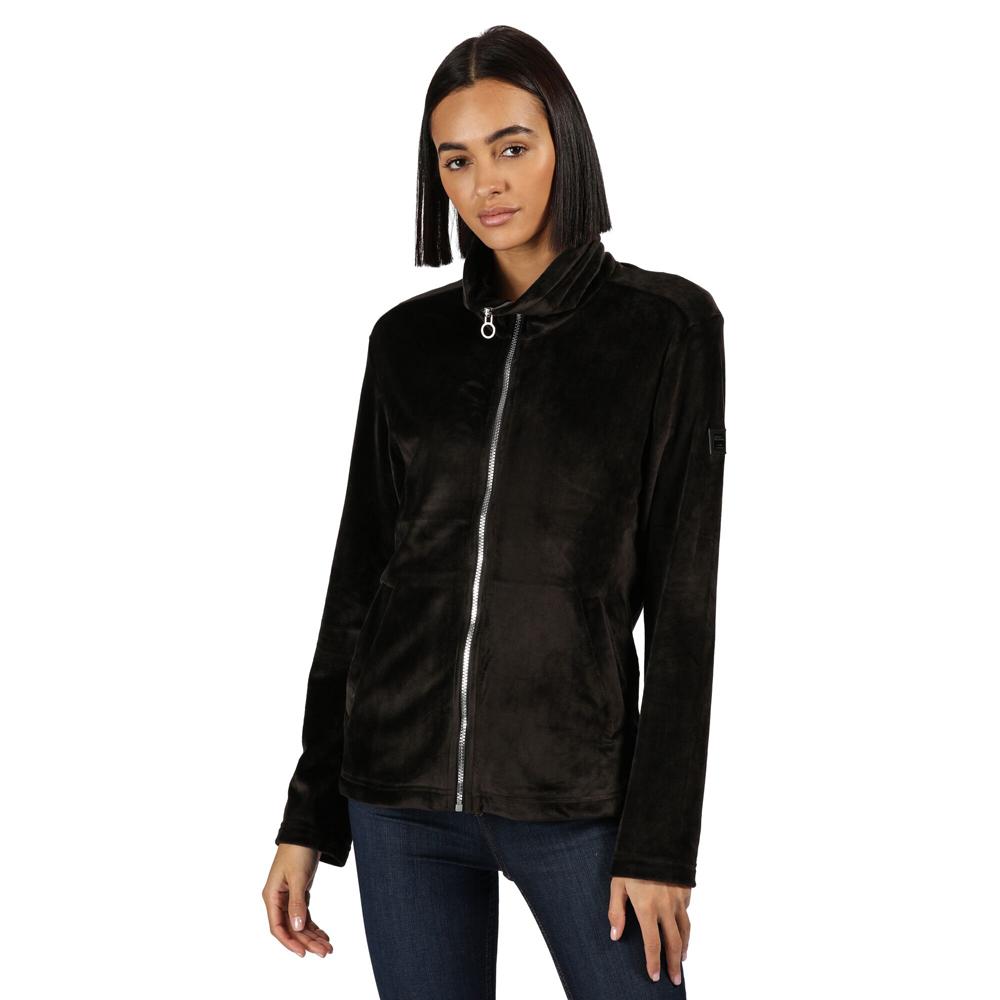 Regatta Womens Hermilla Full Zip Velour Fluffy Fleece Jacket 10 - Bust 34 (86cm)