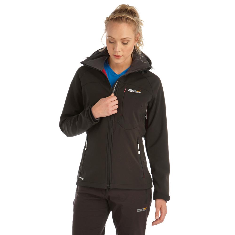 Regatta Ladies Desoto Softshell Hiking Walking Jacket Coat Black