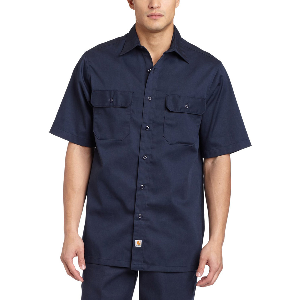 Product image of Carhartt Mens Twill Short Sleeve Button Up Work Shirt Navy S223