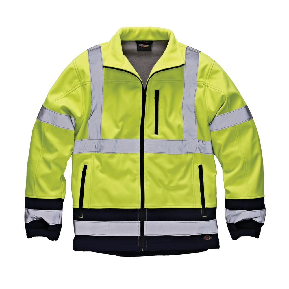 Dickies Mens Workwear Hi Vis Softshell Jacket Yellow Navy SA2007Y