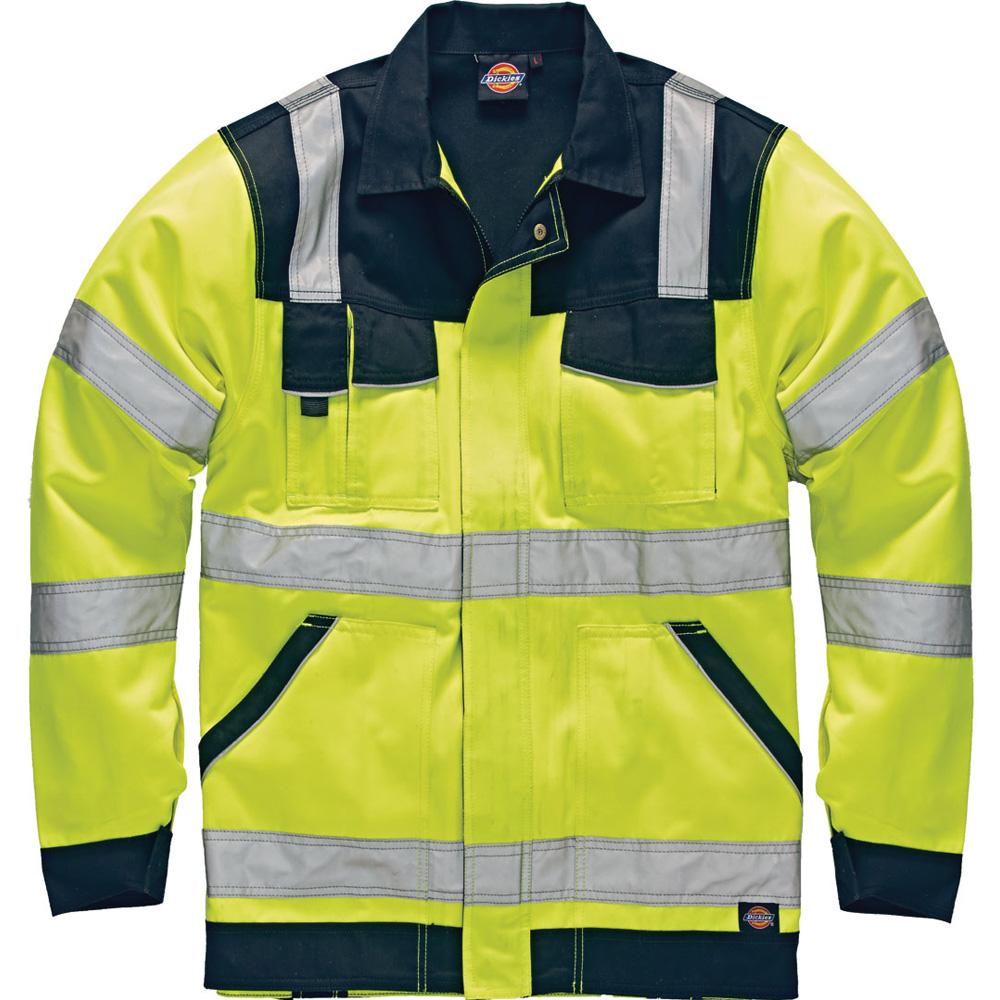 Dickies Mens Industry High Visibility Viz Polycotton Jacket Yellow