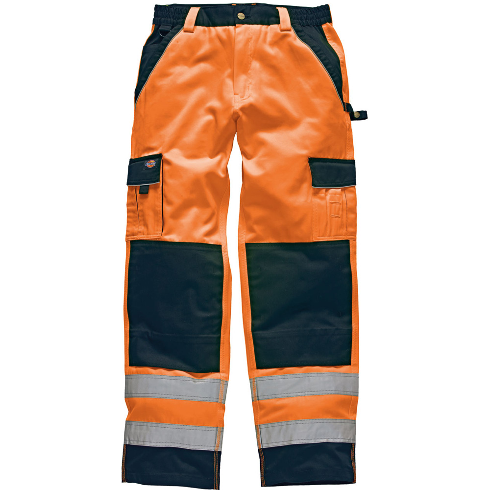 Dickies Mens High Visibility Viz Industry 300 Cargo Trousers Orange