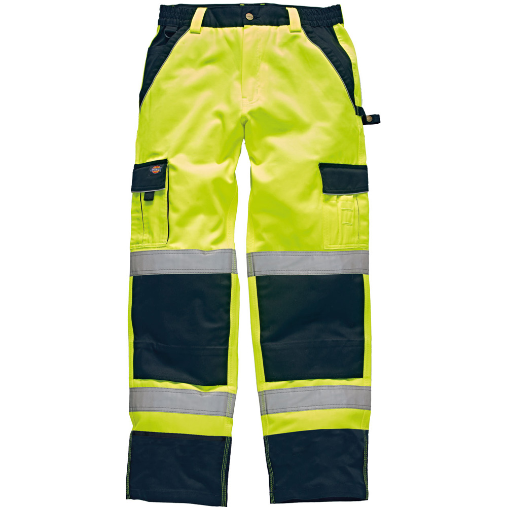 Dickies Mens High Visibility Viz Industry 300 Cargo Trousers Yellow