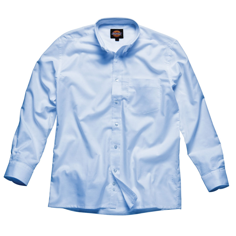 Dickies Mens Workwear Oxford Weave Long Sleeved Shirt Blue Sh64200b